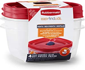 Rubbermaid 2039755 Easy Find Vented Lids Food Storage Containers, 5-Cup 2Pk