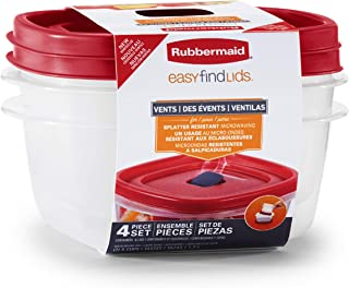 product image for Rubbermaid Easy Find Lids 5-Cup Food Storage and Organization Containers and Lids, 2-Pack, Racer Red,