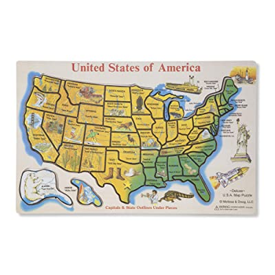 Melissa & Doug USA Map Wooden Puzzle (45 pcs): Melissa & Doug: Toys & Games