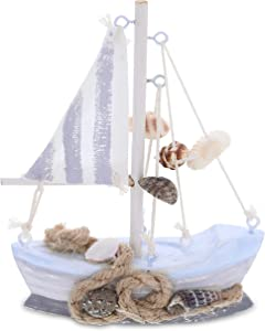 CoTa Global Mini Moonlight Wood Sailboat Model Nautical Decor 5 Inch, Wooden Rustic Coastal Decor Sailboat, Table Top & Shelf Model Boat Beach Decorations for Home Ocean Theme Party Boat Centerpiece