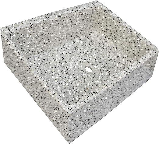 Terrazos Cantalejo Pilón Fregadero o Pila de Piedra parecida al Granito o Mármol de 55x45,5x20,5 cm. (Dálmata): Amazon.es: Hogar