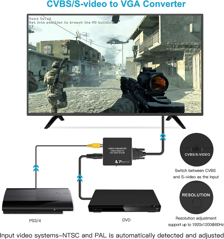Portta AV/CVBS Composite S-Video to VGA Mini Converter upscaler ...