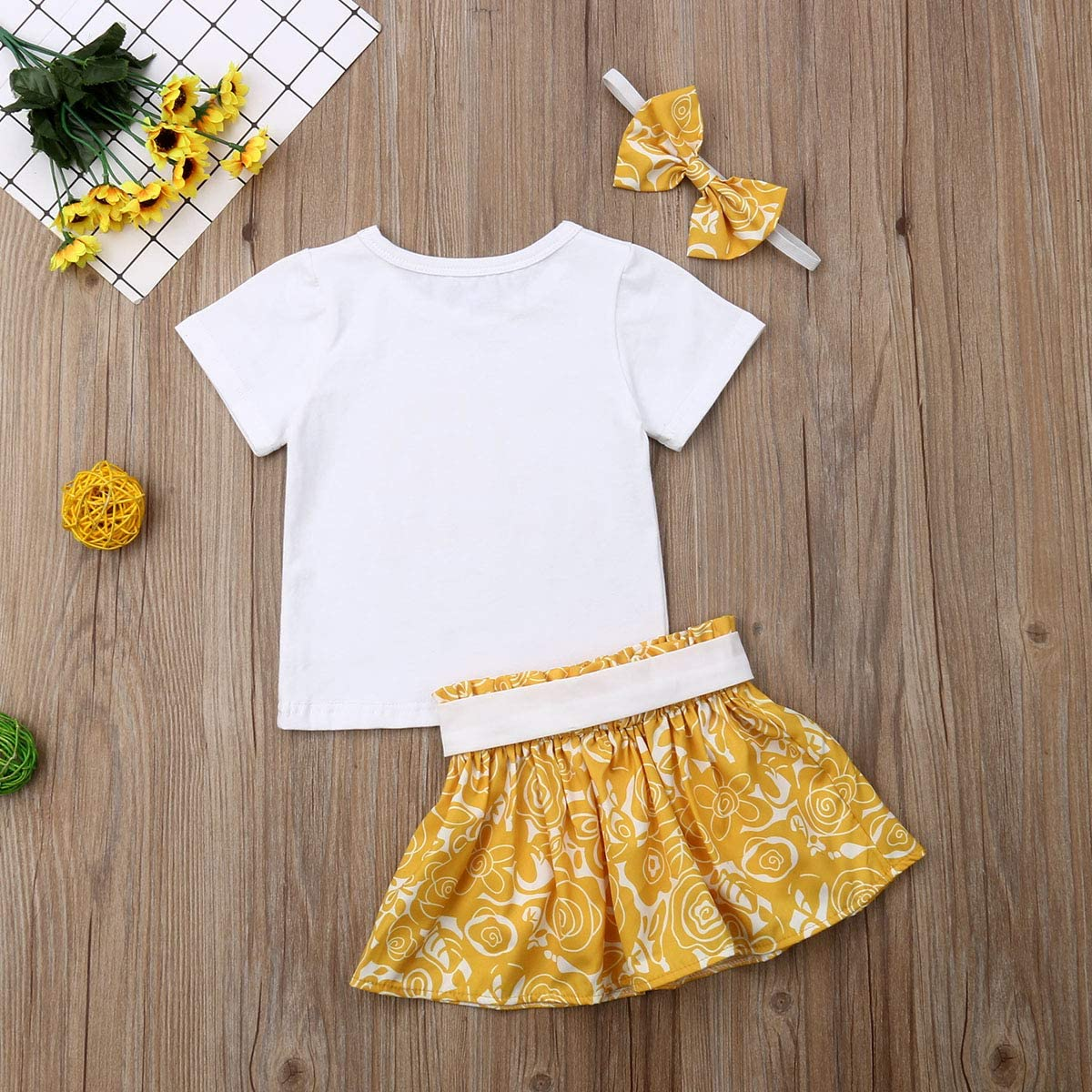Bow-Knot Headband Outfit Set You are My Sunshine Letter and Sun Top Blouse Yellow Flower Ruffle Skirt Dress