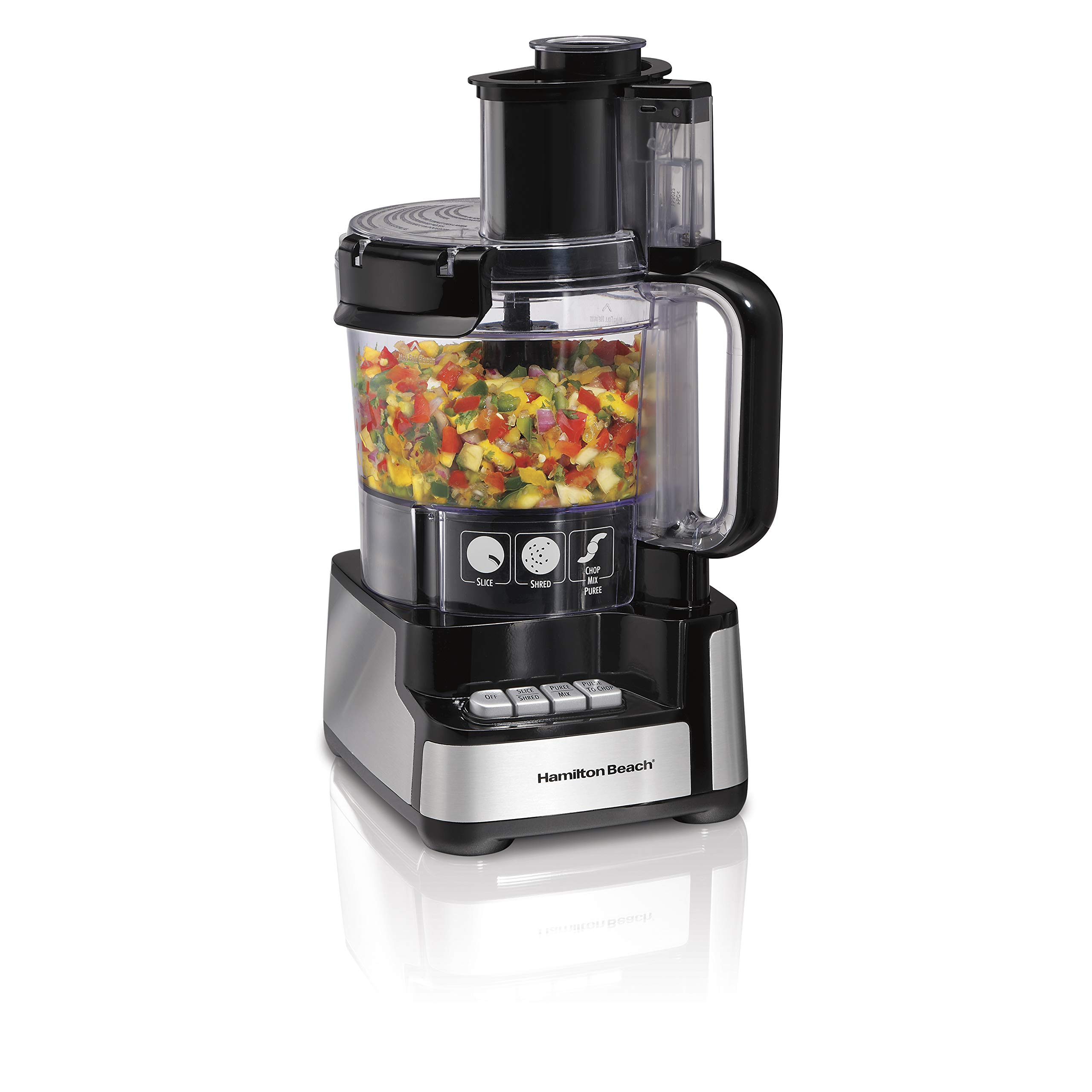 Hamilton Beach 12-Cup Stack & Snap Food Processor & Vegetable Chopper, Black (70725A)