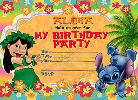 10 x Lilo y Stitch niños fiesta de cumpleaños invitaciones ...