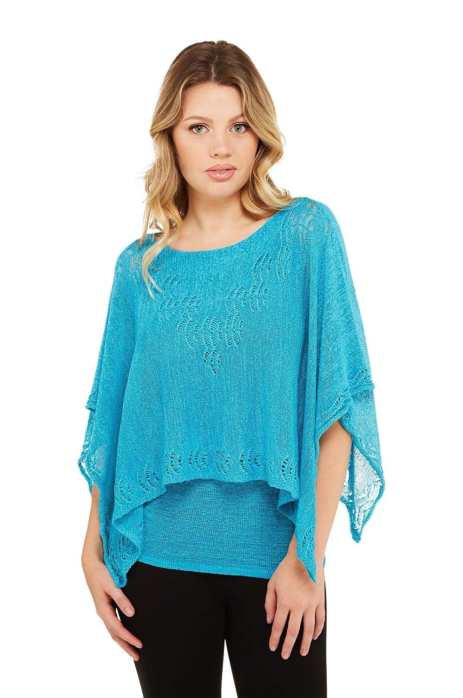 Glacier bluee Lace Detail Knit Poncho Top