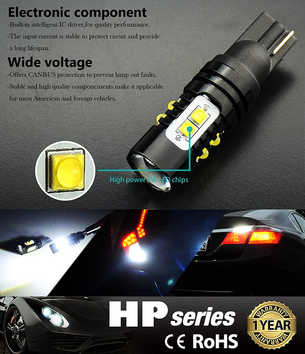Jdm Astar Extremely Bright Max 50w High Power 912 921 How To Build Courtesy Light Led Bulb For Backup Reverse Lights Xenon White Automotive