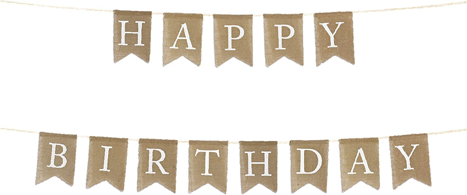 Andaz Press Real Burlap Fabric Pennant Hanging Banner Happy Birthday, Pre-Strung, No Assembly Required, 1-Set