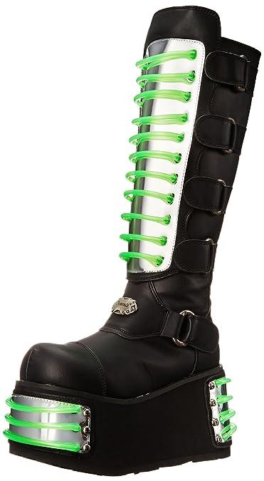1f0256ef802f11 Demonia Techno-854UV - UV-reaktive Gothic Industrial Cyber Mega Plateau Stiefel  Schuhe 36