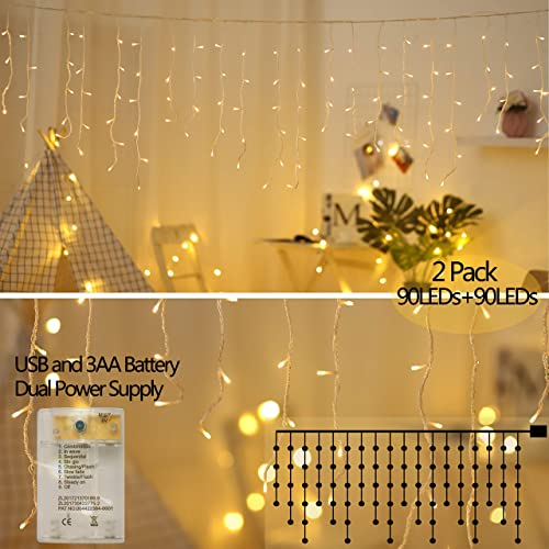 Areskey LED Icicle Lights,10Ft 90 LED Window Curtain String Light,8 Modes USB Battery Operated,Waterproof Fairy String Lights for Indoor Outdoor Wedding Party Bedroom Decoration,Warm White 2Pack