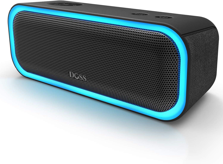 DOSS SoundBox Pro Altavoz Bluetooth Portátiles con 360° Sonido, Mejorado Bass, Pareado Estéreo, Múltiple LED, IPX5 Impermeable, 12 Horas de Emisión Continua Manos Libre- Negro