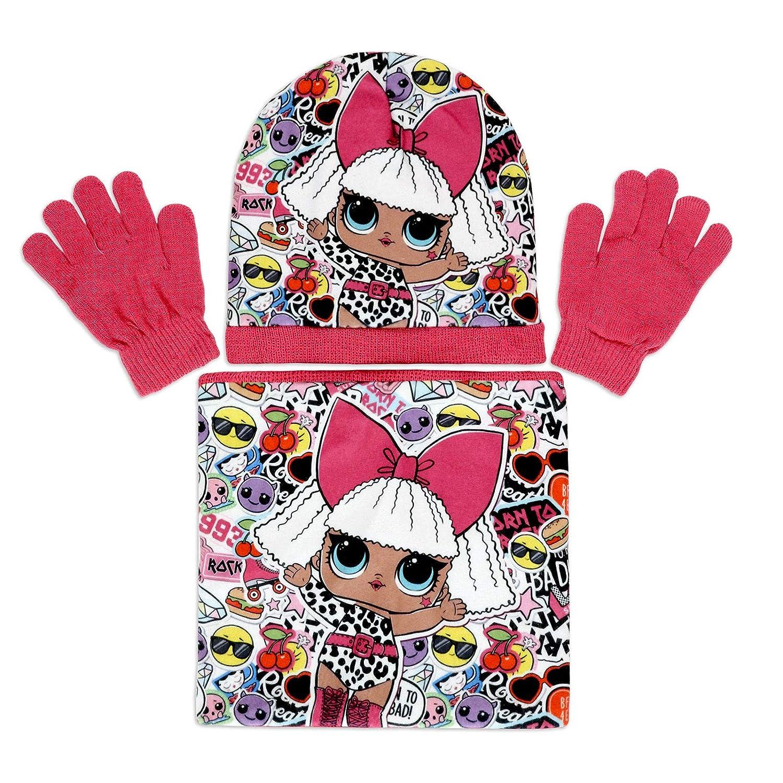 Bambina Characters Cartoons LOL Surprise Set Invernale in Maglia 3pz Cappello Guanti e Scaldacollo