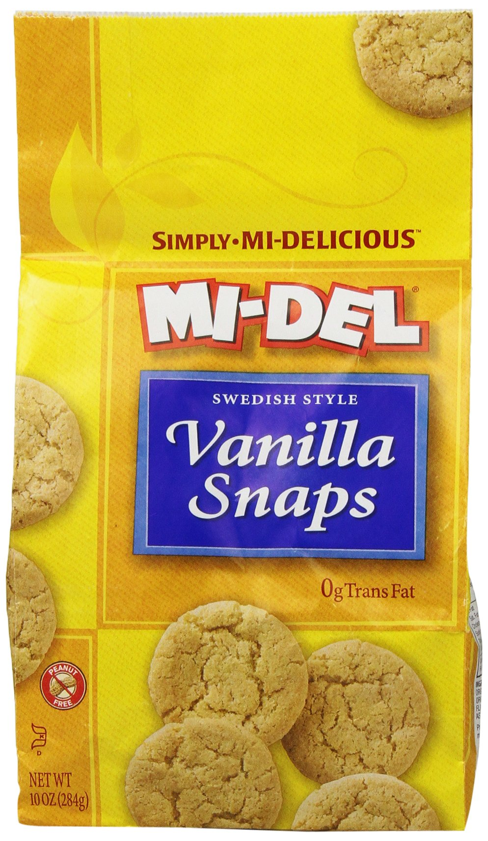 Mi-Del Swedish Style Cookies, Vanilla Snaps, 10 Ounce (Pack of 12) by Mi-Del