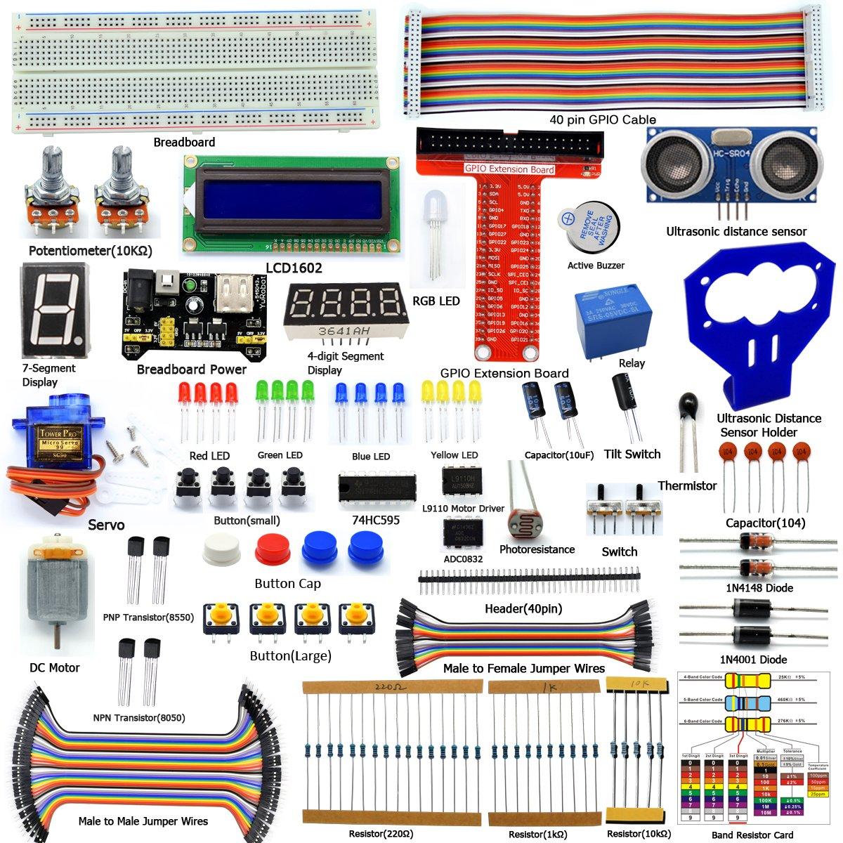 Adeept Ultrasonic Distance Sensor Starter kit for Raspberry Pi 3, 2 Model B/B+, LCD1602, Motor, C and Python Code, Beginner/Starter Kit for Raspberry Pi with User Manual/Guidebook
