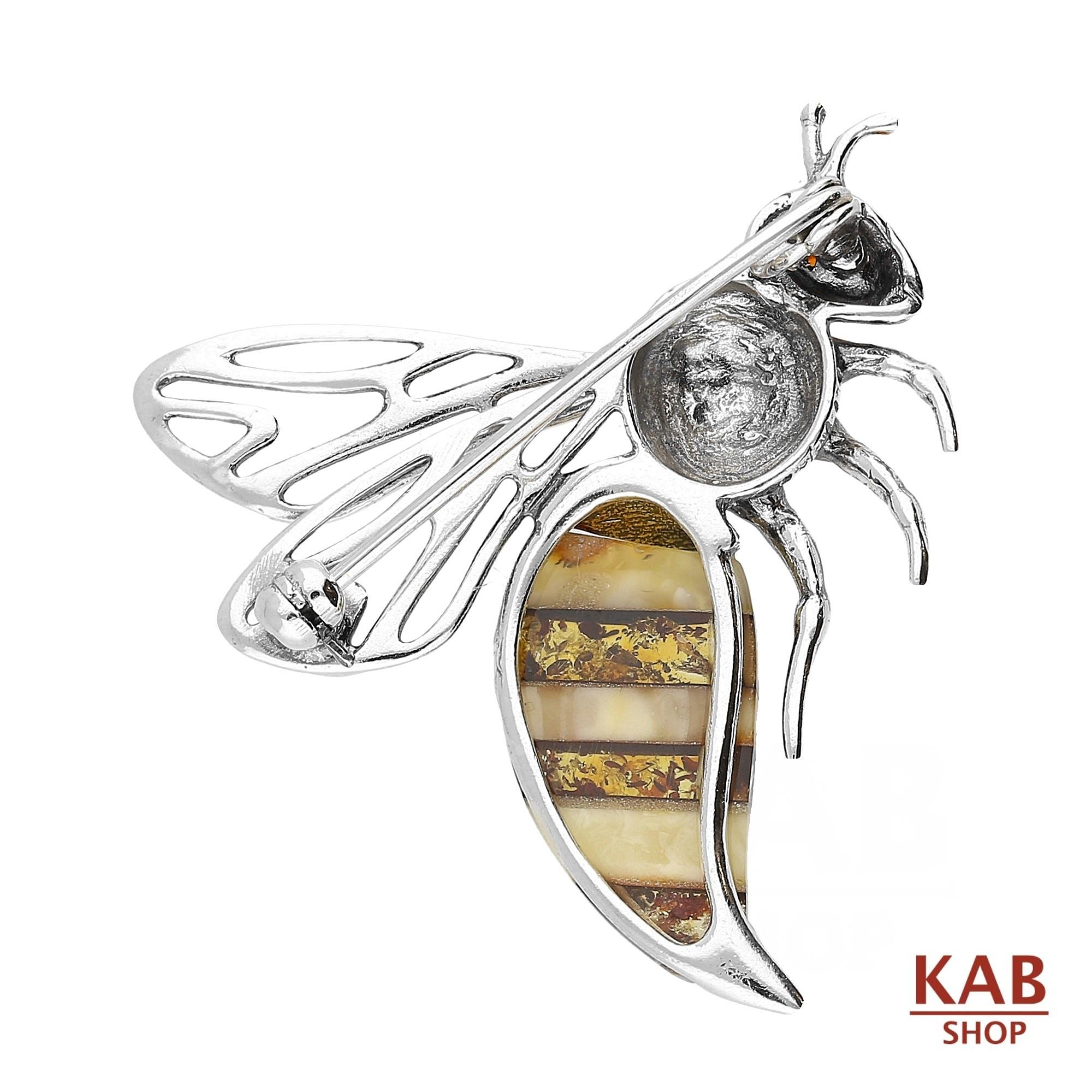 BALTIC AMBER STERLING SILVER 925 JEWELRY BEE BROOCH/PIN, KAB-166 by KAB (Image #2)