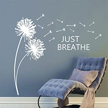 Just Breathe Dandelions Blowing In The Breeze Inspirational Wall Quote  Decals, Dandelion Wall Decals, Part 79