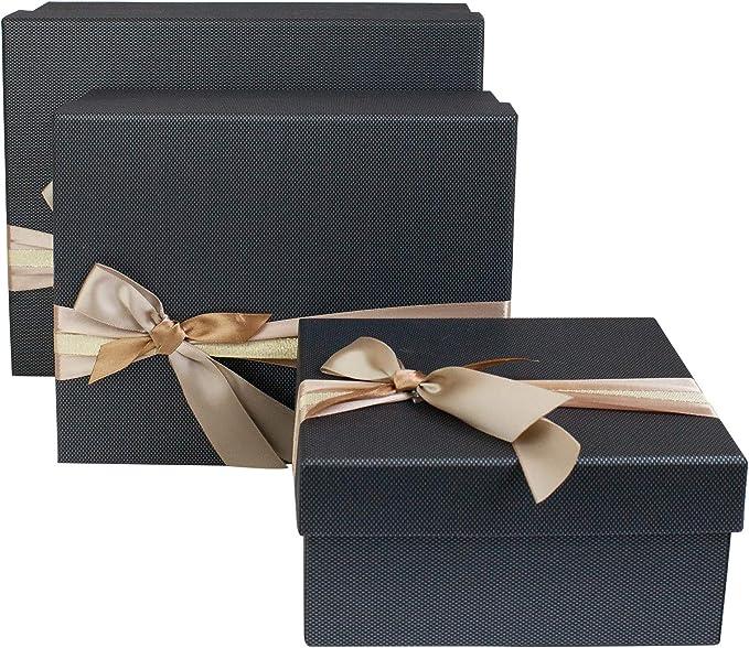 Lila Blumendruck mit Lila Deckel Emartbuy Set von 3 Starrer Luxus Pr/äsentation Kofferaufbewahrung Geschenkbox Lila Interieur mit Metallgriff und Verschluss