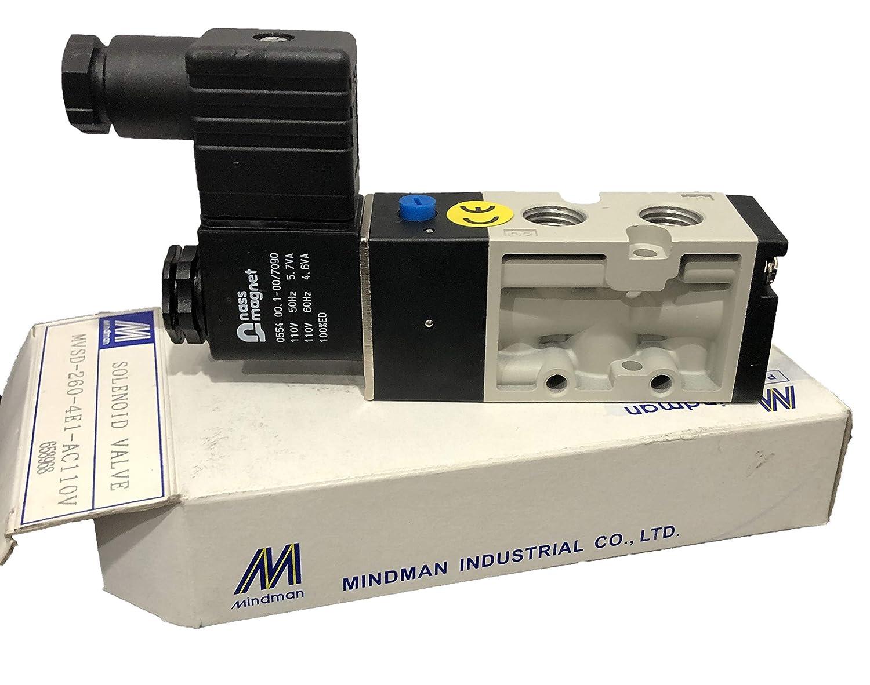 Body ported Type 2 Position 5 Way AC110V Mindman MVSD-260-4E1-AC110V-NPT Solenoid Valve NPT