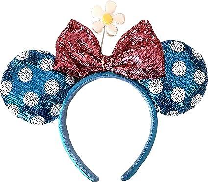 NEW Disney Parks Millennial Pink Minnie Mouse Bow Sequins Ear Headband