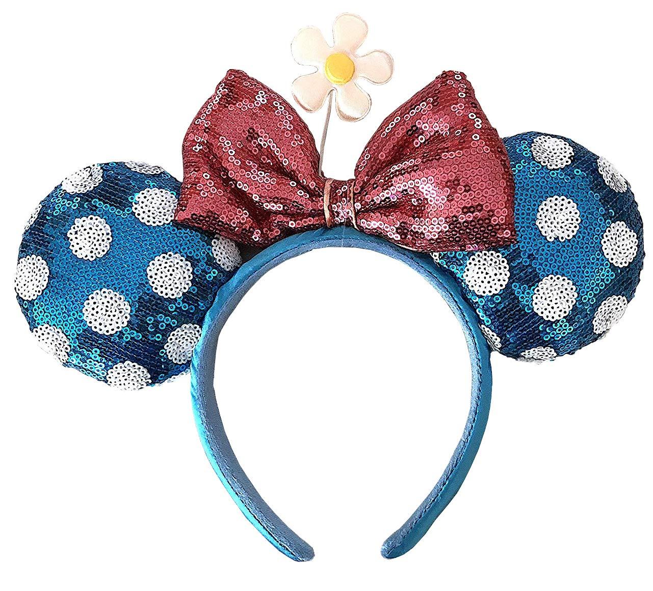Disney Parks Minnie Mouse Bow Flower Polka Dot Sequin Ears Headband
