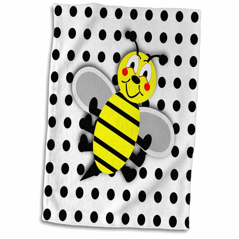 3D Rose Print of Cute Bumble Bee Cartoon On Dots TWL/_193146/_1 Towel 15 x 22 Multicolor