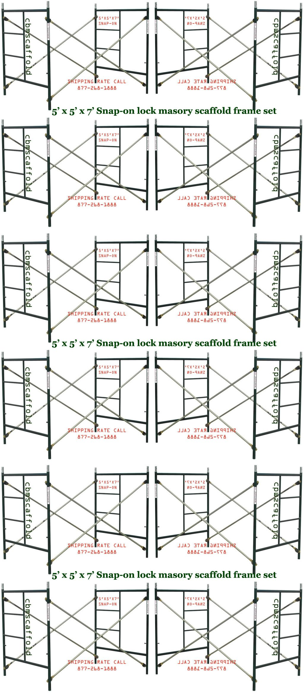 12 Set New Snap-On Lock 5' X 5' X 7' Masonry Scaffolding Frame Sets CBMSCAFFOLD