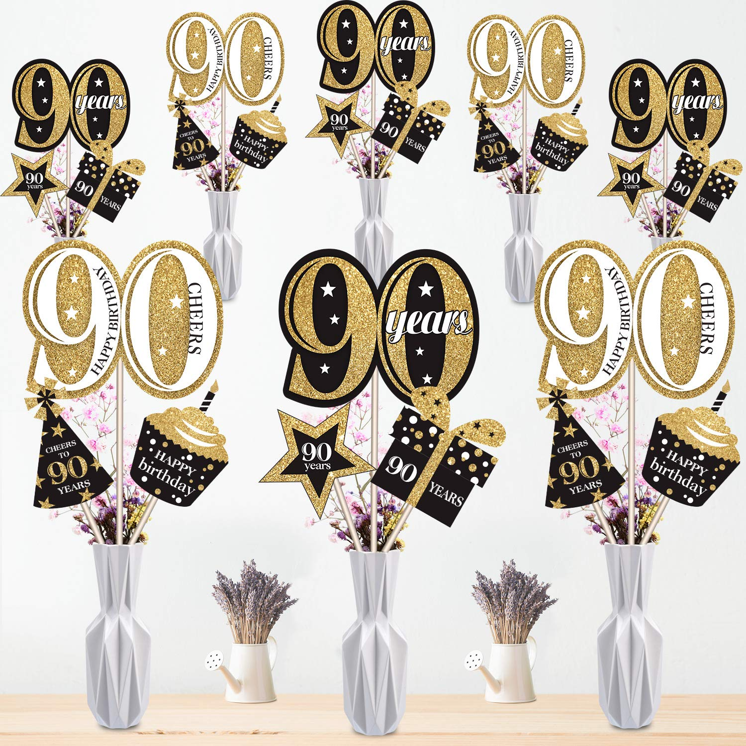 Blulu 70th Birthday Party Decoration Set Golden Birthday Party Centerpiece Sticks Glitter Table Toppers Party Supplies 70th Birthday 24 Pack