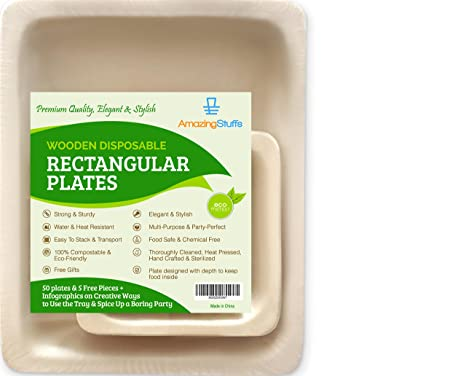 Amazon.com 55 Elegant Disposable Plates - Bamboo Wooden Paper - 10  Rectangular Biodegradable Birthday Party Catering Serving Dinnerware - Eco-Friendly ...  sc 1 st  Amazon.com & Amazon.com: 55 Elegant Disposable Plates - Bamboo Wooden Paper - 10 ...