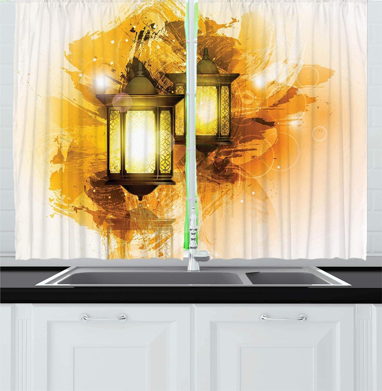 Arabesque Kitchen Curtains by Ambesonne, Urban Ramadan ... on jerusalem window, jesus window, valentines day window, thank you window, fashion window, new year window,