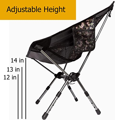 Boundary Life Portable Camping Chair 2-Pack Camp, Backpacking and Hiking – Compact Collapsible and Light Chairs fit in a Backpack Great for Hunting Fishing Picnic or Beach 2 Pack – Camo