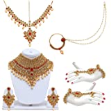 Lucky Jewellery Lct Red Bridal Dulhan Wedding & Engagement Necklace Set With Mang Tikka