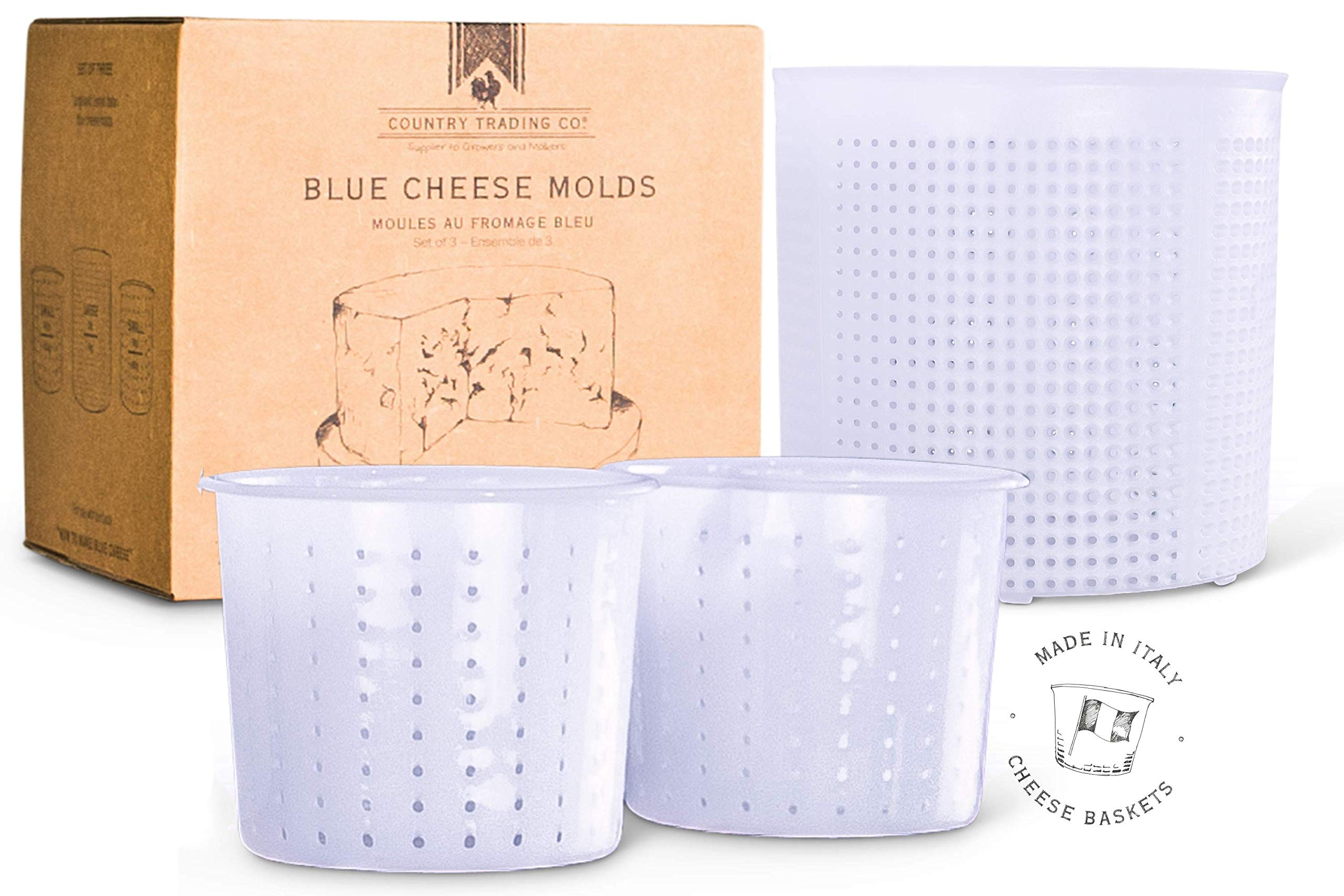 Cheese Molds Set of 3 for Making Blue and Hard Cheeses at Home - Quality Italian Baskets to Make Gorgonzola Colby Gouda Cheddar or DIY Organic Vegan Nut Cheese Maker
