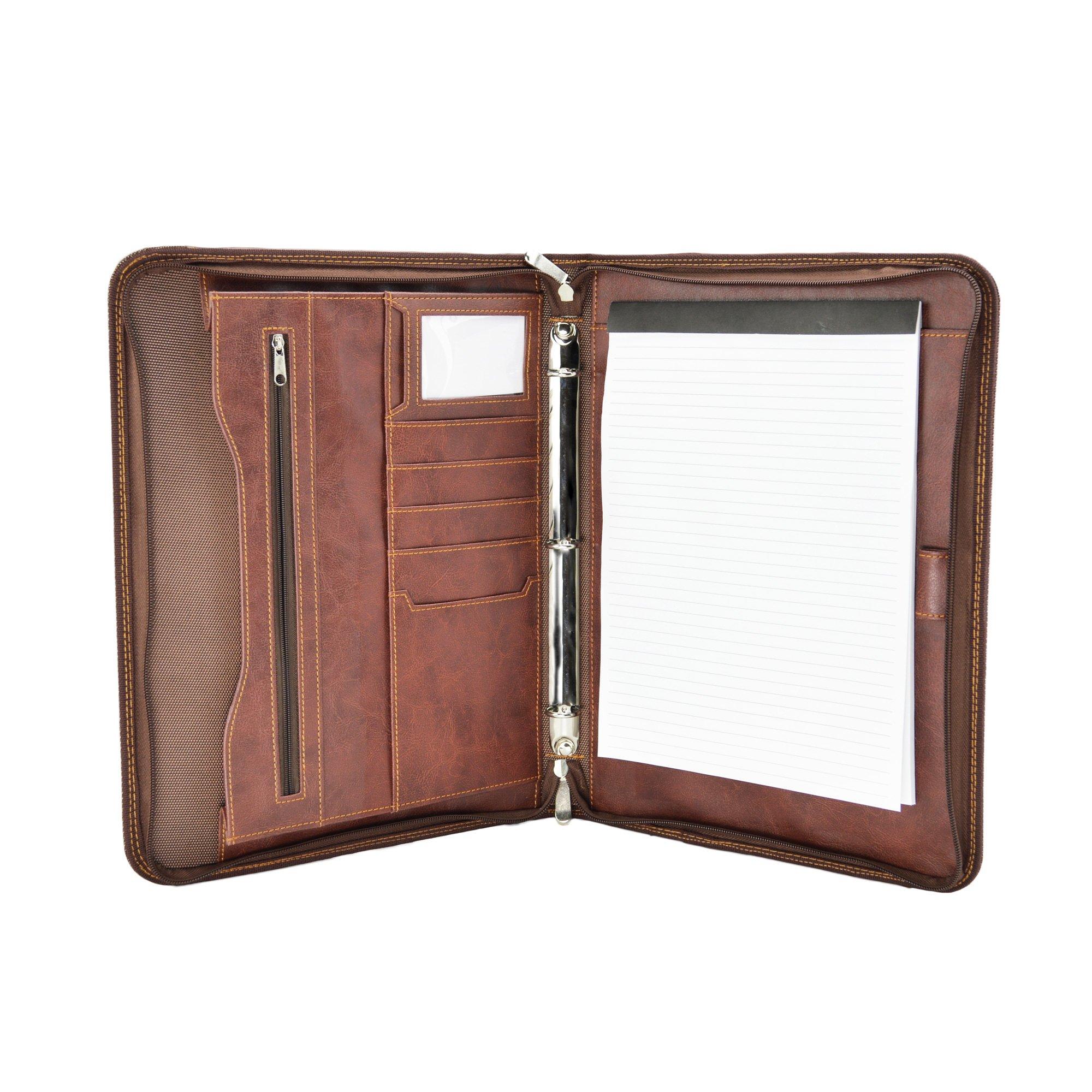 DALIX OG-EXL-001-Brown Professional Excel Business Slim Portfolio Briefcase Organizer, Brown