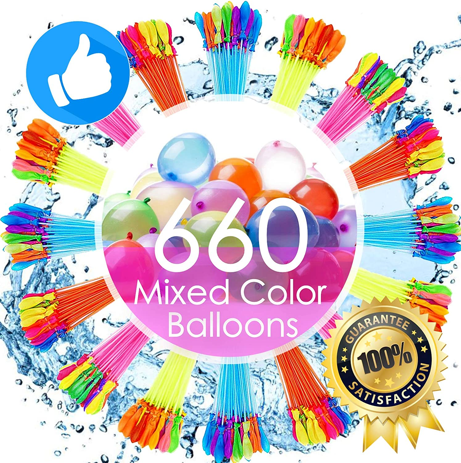 Water Balloons for Kids Girls Boys Balloons Set Party Games Quick Fill 660 Balloons 18 Bunches for Swimming Pool Outdoor Summer Fun MK1