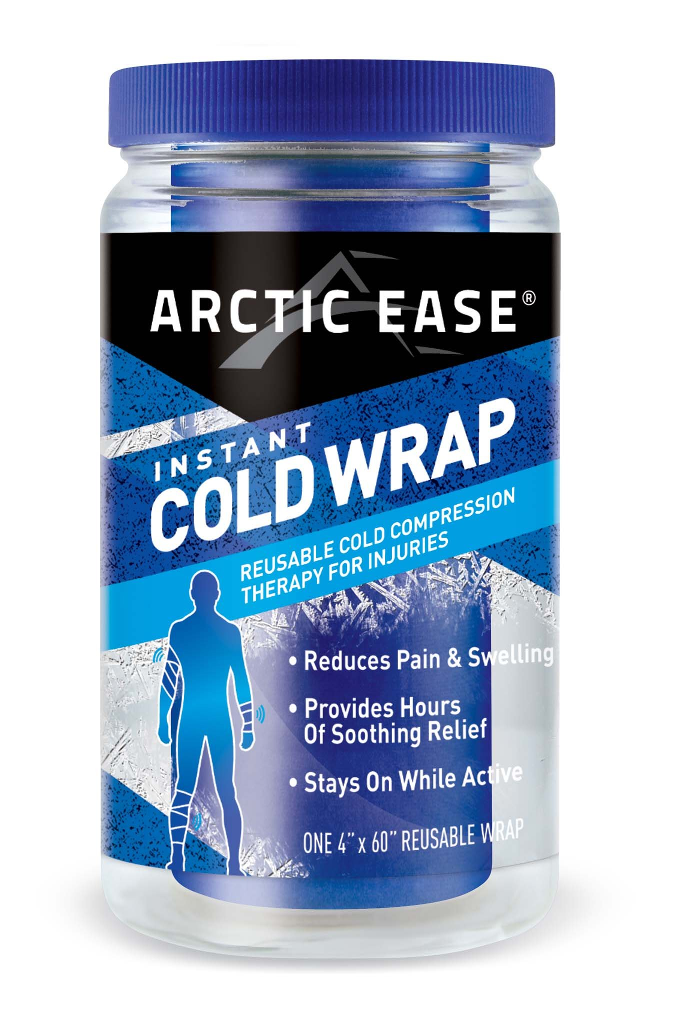 """Arctic Ease Reusable Instant Cold Wrap, Large Size, Measures 4"""" X 60"""", Sized for Large Joints/Muscles Including Hamstring, quads, Thigh, Shoulders, Knees and Hips, Blue"""