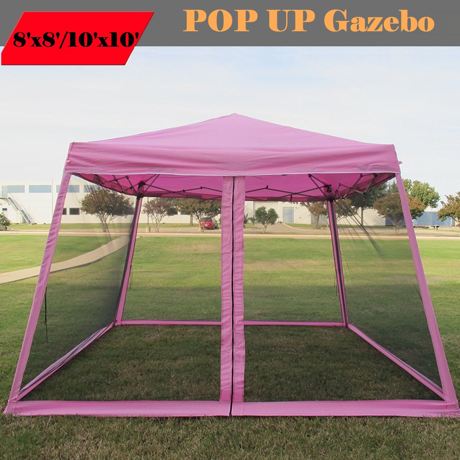 Amazon.com  8u0027x8u0027/10u0027x10u0027 Pop up Canopy Party Tent Gazebo Ez with Net (Pink)  Family Tents  Garden u0026 Outdoor : 8x8 canopy gazebo - memphite.com