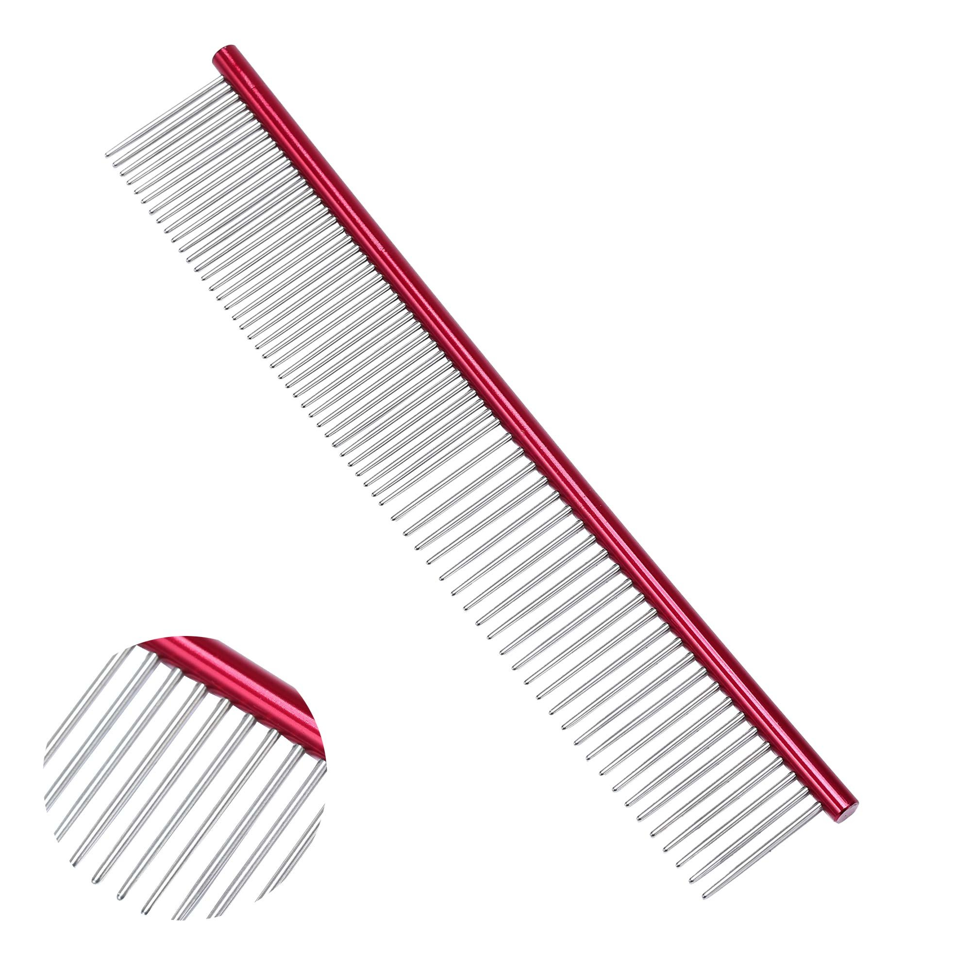 Pet Grooming Comb - Metal Comb For Dogs, Cats and Other Pets, Great Shedding Tool(Red)