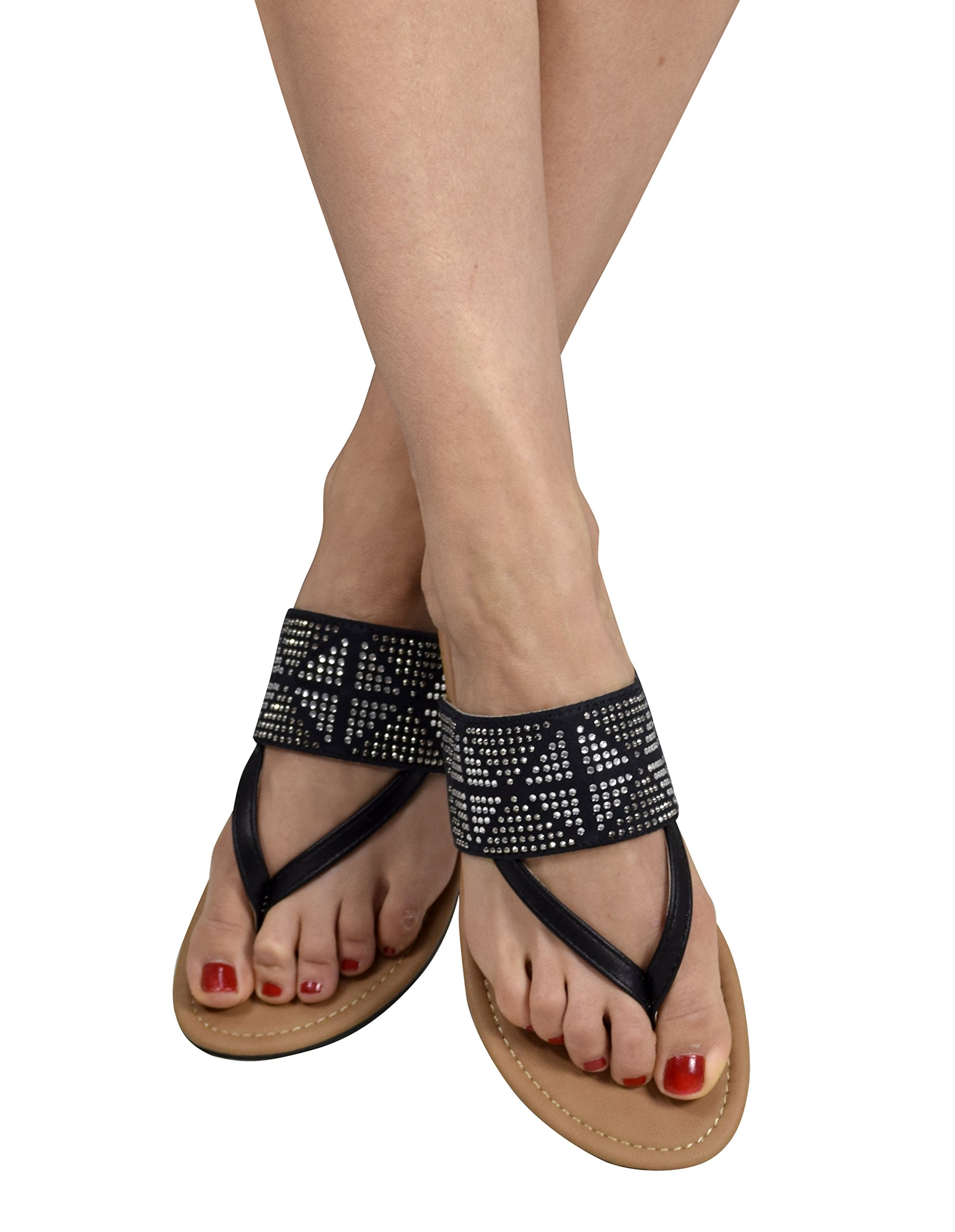 Peach Couture Womens Double Strap Pearl Studded Wide Band Slides Sandals Black 7 B(M) US
