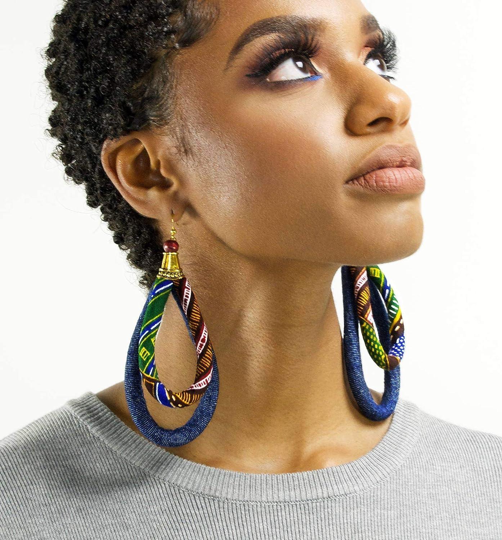de78523c53d75 Large Jean and Kente Print Earrings - African Hoop Earrings - kentePrint  Earrings - Big Earrings - ketepa print earrings - green, orange, black