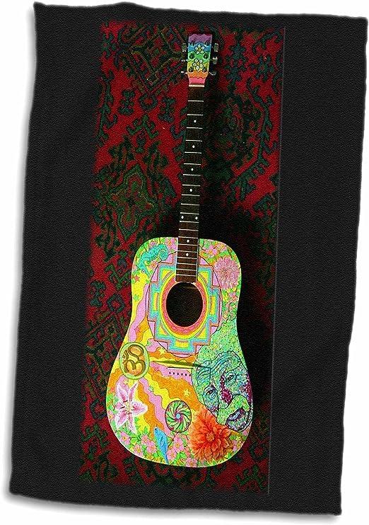 3dRose - Guitarra Pintada a Mano en Toalla de Colores Salvajes ...
