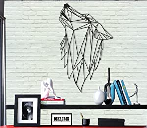 "Metal Wall Art - Geometric Wolf - 3D Wall Silhouette Metal Wall Decor Home Office Decoration Bedroom Living Room Decor Sculpture (11"" W x 18"" H/28x46cm)"