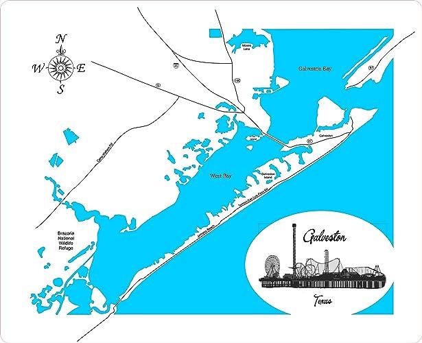 Galveston Map Of Texas.Amazon Com Galveston Texas Framed Wood Map Wall Hanging