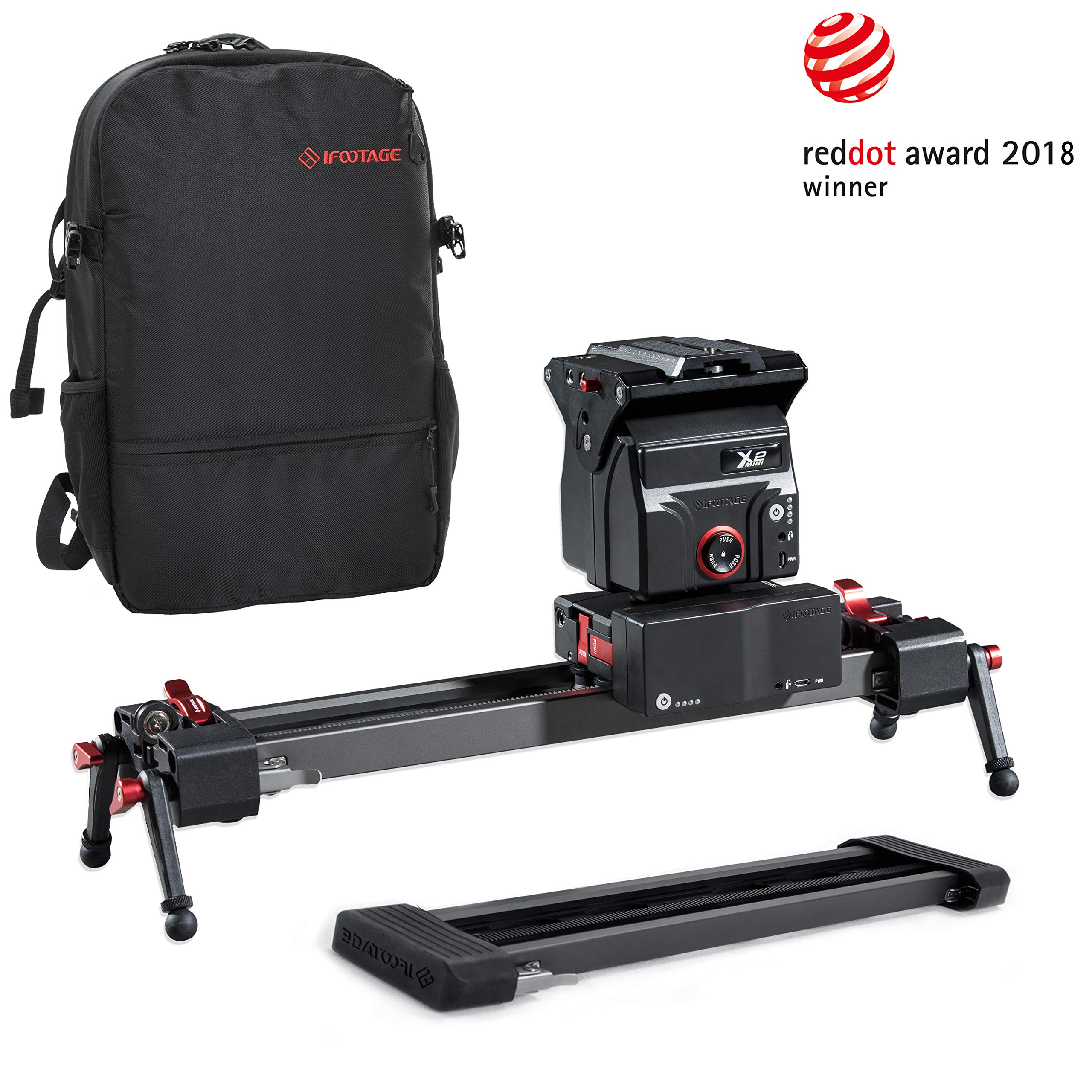 IFOOTAGE Electric Camera Slider 33inch Motorized Photography Slider Tracker Silent Motor Camcorder Tracking Video Shooting Follow Focus - Shark Slider Mini with Backpack by IFOOTAGE