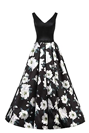 5889f47b15 ZVOCY Floral Print Prom Dress Long Black 3D White Flower V-Neck Evening  Gowns Backless Formal Party Dress at Amazon Women s Clothing store