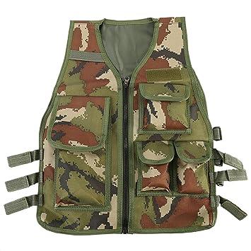 Chaleco Multi-bolsillos de Nylon Ajustable CS Airsoft Molle Chaleco para Caza Fotografía Pesca para Niños de 8 a 14 Años (Color : Camouflage) : Amazon.es: ...