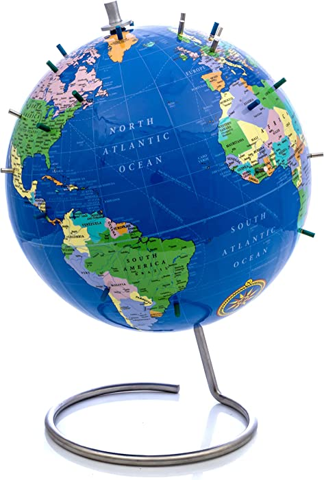 "Bullseye Office - Magnetic World Globe (Lacquer Finish) - 10"" Magnetic Standing World Globe with Magnetic Pins - Perfect as Office Desk Globe, Classroom Globe, or Travelers Globe (Blue)"