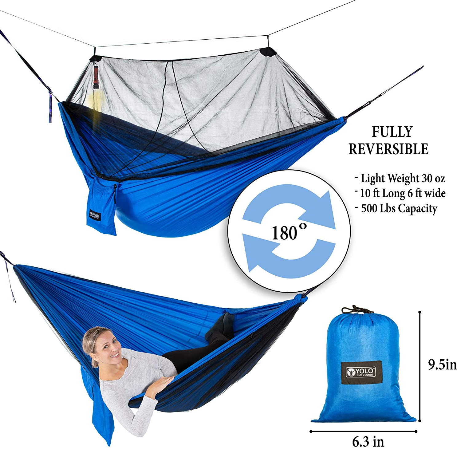 YOLO Outdoors Camping Hammock with Mosquito Net Double, Reversible, Portable, Lightweight Ripstop Parachute Nylon with 500 LBS Capacity Includes Tree Straps, Carabiner First Aid Kit