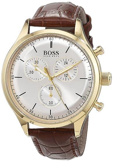 081425420091 Hugo BOSS Reloj Cronógrafo para Hombre de Cuarzo con Correa en Cuero  1513545  Amazon.es  Relojes