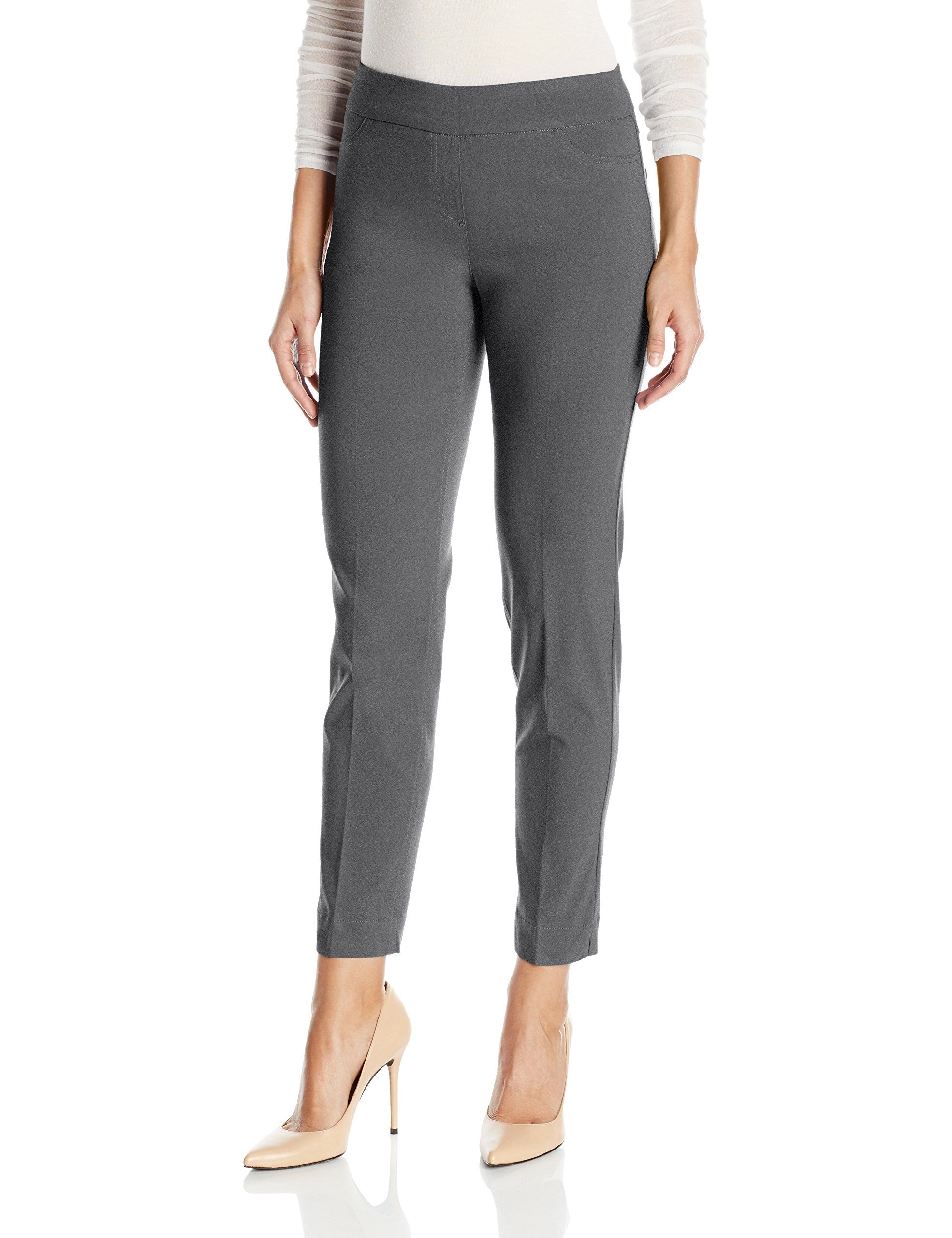 SLIM-SATION Women's Wide Band Pull on Ankle Pant with Tummy Control, Charcoal, 12