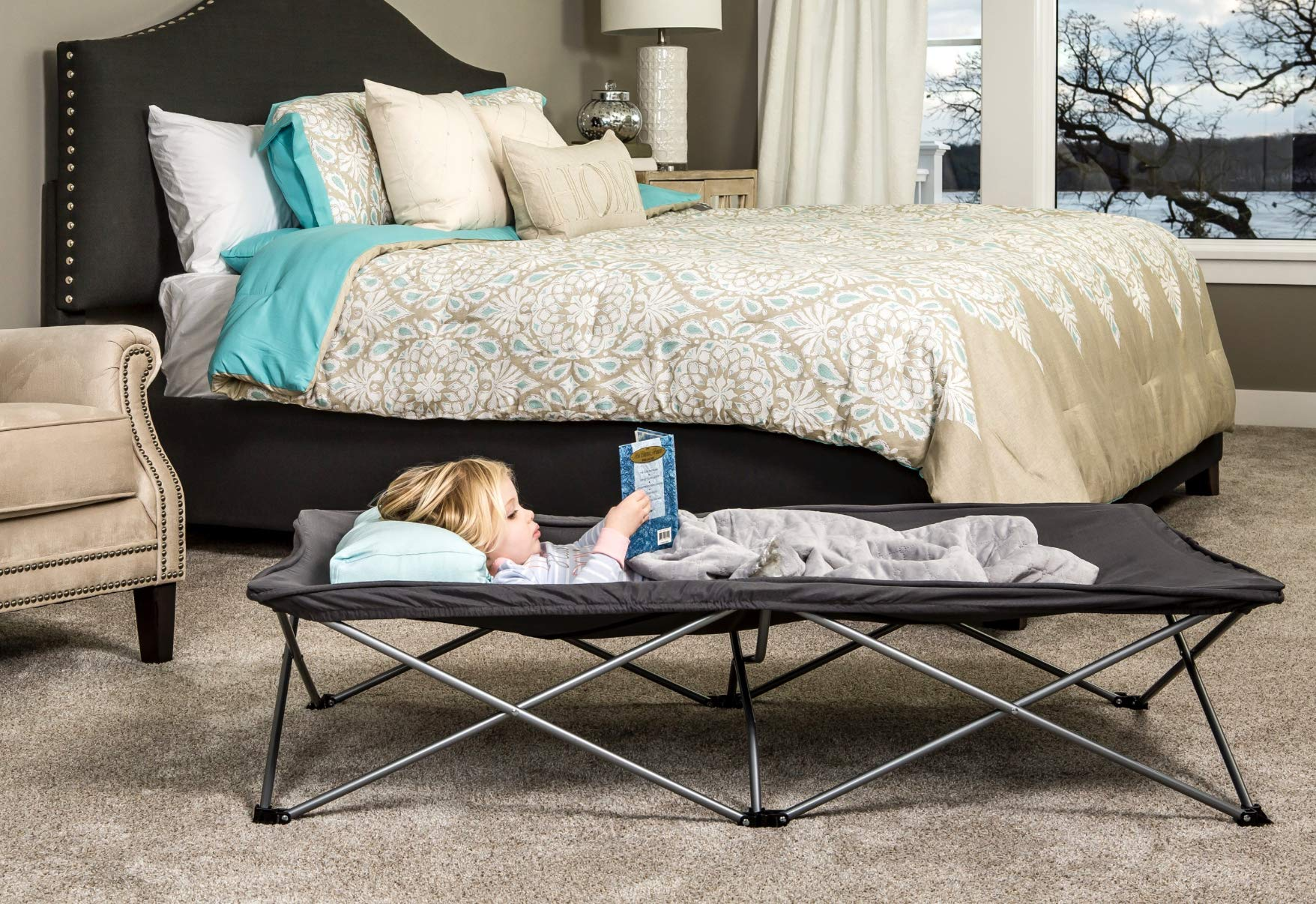 Regalo My Cot Extra Long Portable Bed, Includes Fitted Sheet, Gray by Regalo